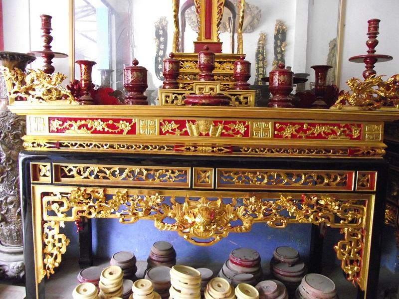 bàn thờ án gian sơn son thếp bạc