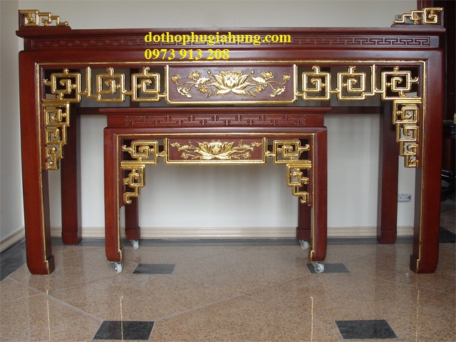 Bàn Triện Hoa Sen thếp vàng